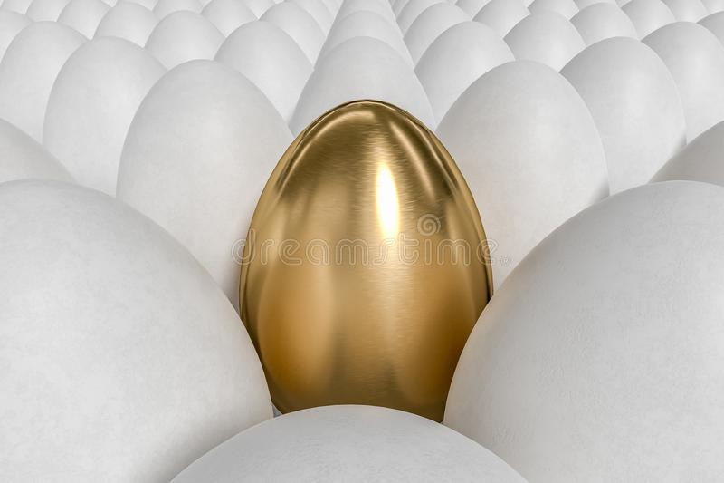 Μοναδικός χρυσό αυγό και πολλά άσπρα αυγά απεικόνιση που δίνεται τρισδιάστατη ελεύθερη απεικόνιση δικαιώματος