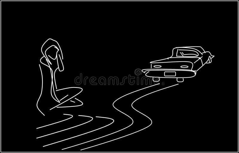 Μοναξιά Μια ανύπαντρη και μια αναχώρηση αυτοκινήτων απεικόνιση αποθεμάτων