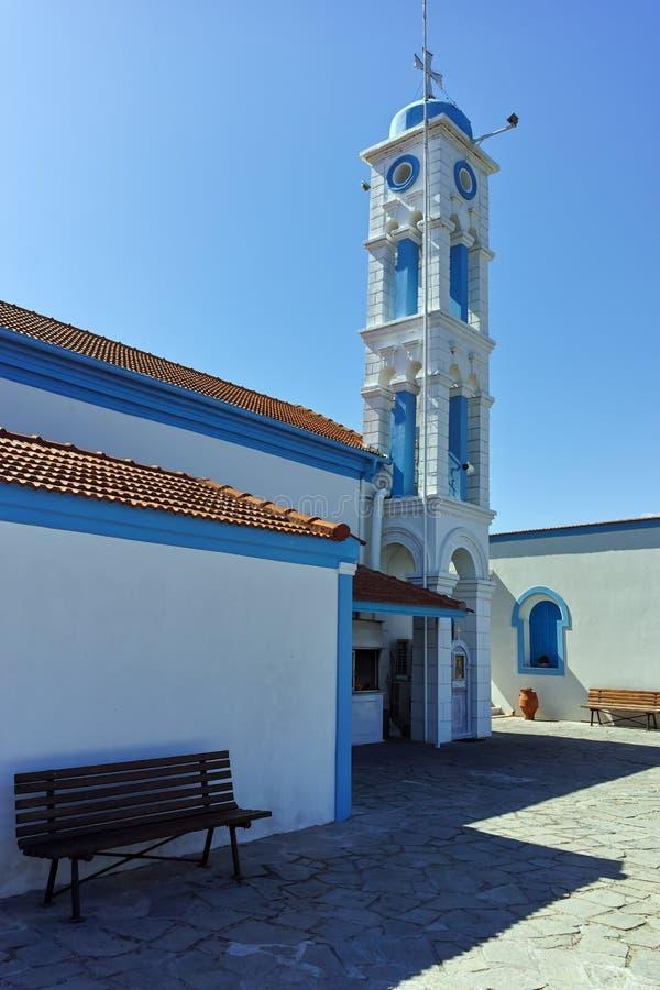 Μοναστήρι Άγιου Βασίλη που βρίσκεται σε δύο νησιά στο Πόρτο Λάγκος κοντά στην πόλη της Ξάνθης, Ελλάδα στοκ εικόνες με δικαίωμα ελεύθερης χρήσης