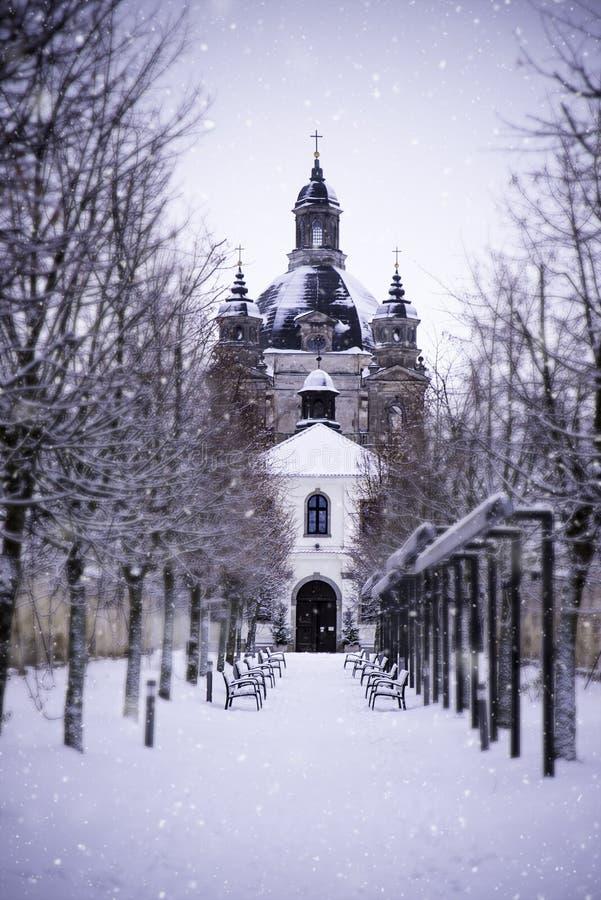 Μοναστήρι και εκκλησία Pazaislis το χειμώνα, Kaunas, Λιθουανία στοκ εικόνες