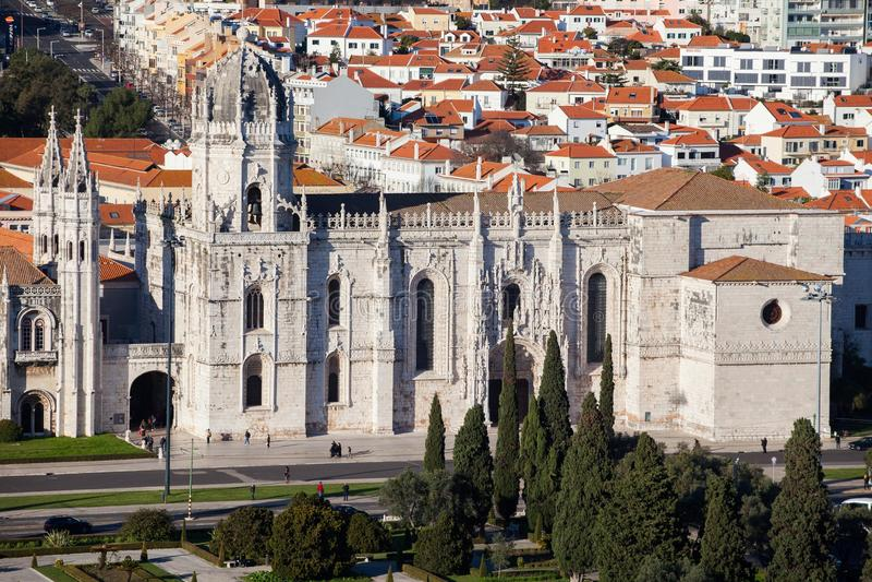 Μοναστήρι Jeronimos από την κορυφή στοκ εικόνα
