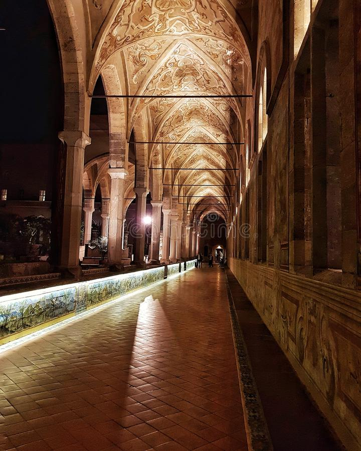 Μοναστήρι Santa Chiara, Νάπολη Ιταλία στοκ εικόνες