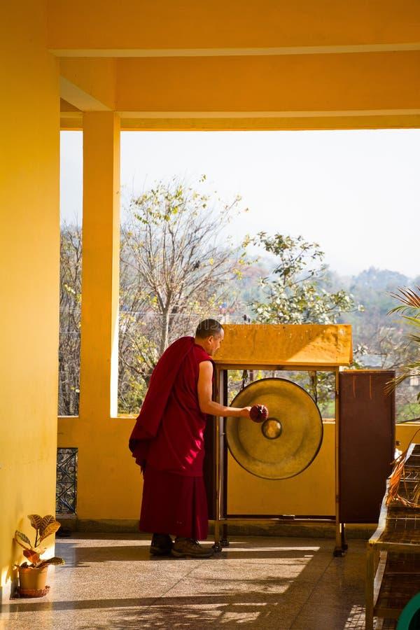 Μοναχός και gong, μοναστήρι Gyuto, Dharamshala, Ινδία στοκ φωτογραφία με δικαίωμα ελεύθερης χρήσης