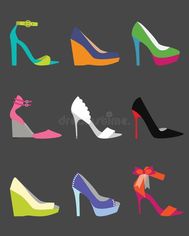 Μοναδικά ζωηρόχρωμα εικονίδια παπουτσιών γυναικών καθορισμένα ελεύθερη απεικόνιση δικαιώματος