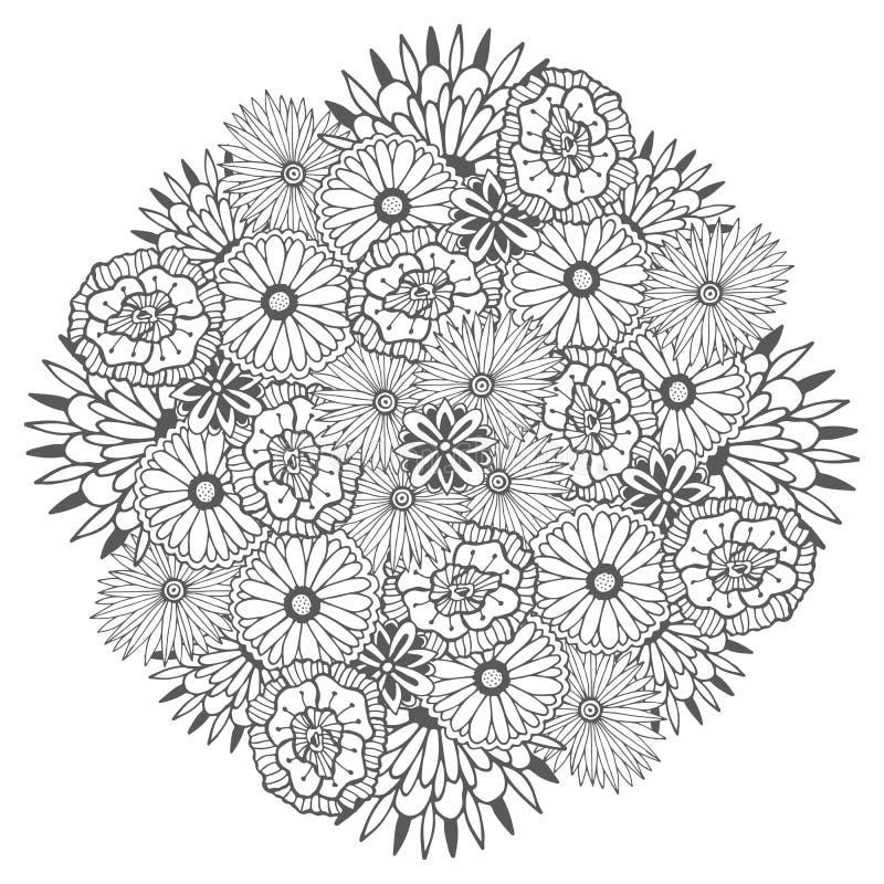 Μοναδικό διανυσματικό mandala με τα λουλούδια Διακοσμητικό στρογγυλό floral zentangle για το χρωματισμό των σελίδων βιβλίων διανυσματική απεικόνιση