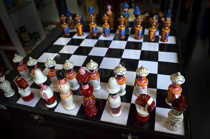 Μοναδικό σύνολο σκακιού στοκ εικόνες