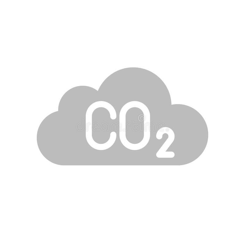 Μονοξείδιο του άνθρακα στο σύννεφο, επίπεδο διανυσματικό εικονίδιο διανυσματική απεικόνιση
