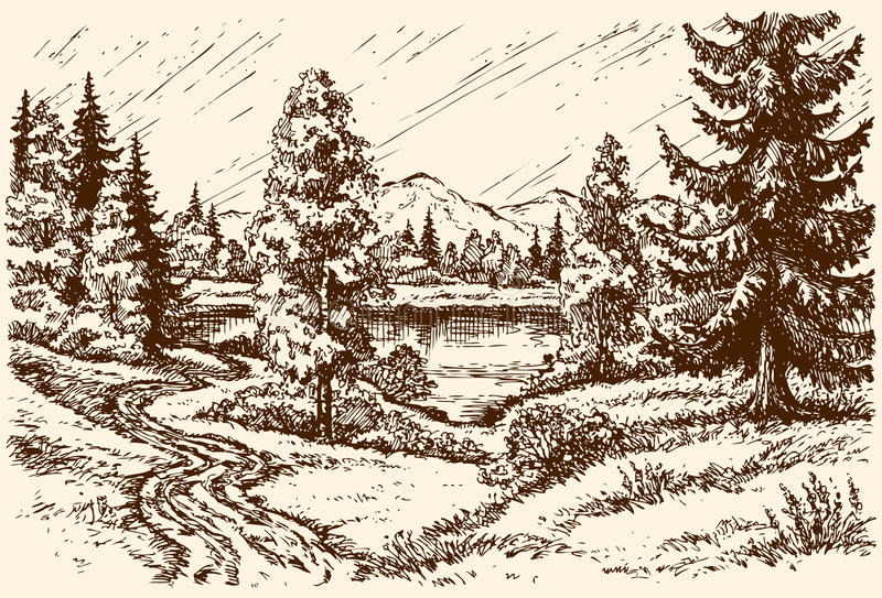 μονοπάτι λιμνών Διανυσματικό τοπίο ελεύθερη απεικόνιση δικαιώματος
