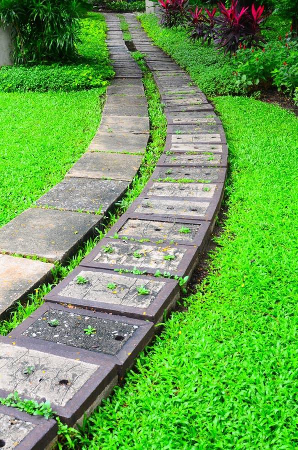 Μονοπάτι πετρών κήπων με τη χλόη στοκ φωτογραφία με δικαίωμα ελεύθερης χρήσης