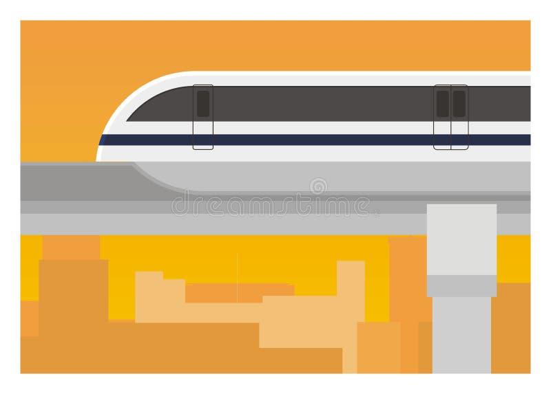 Μονοτρόχιος σιδηρόδρομος με την οικοδόμηση του υποβάθρου σκιαγραφιών διανυσματική απεικόνιση