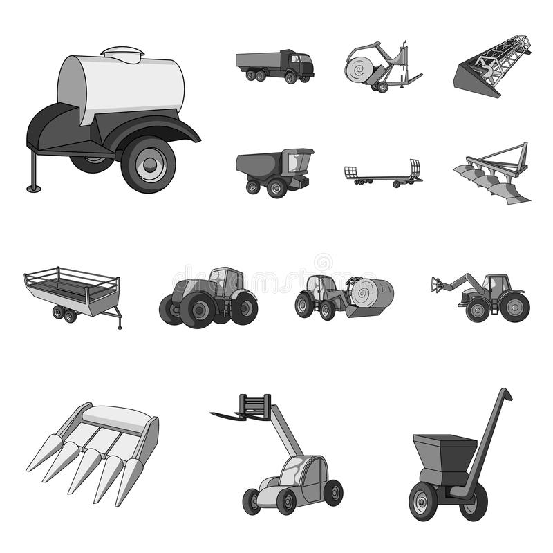 Μονοχρωματικά εικονίδια γεωργικών μηχανημάτων στην καθορισμένη συλλογή για το σχέδιο Διανυσματικός Ιστός αποθεμάτων συμβόλων εξοπ διανυσματική απεικόνιση