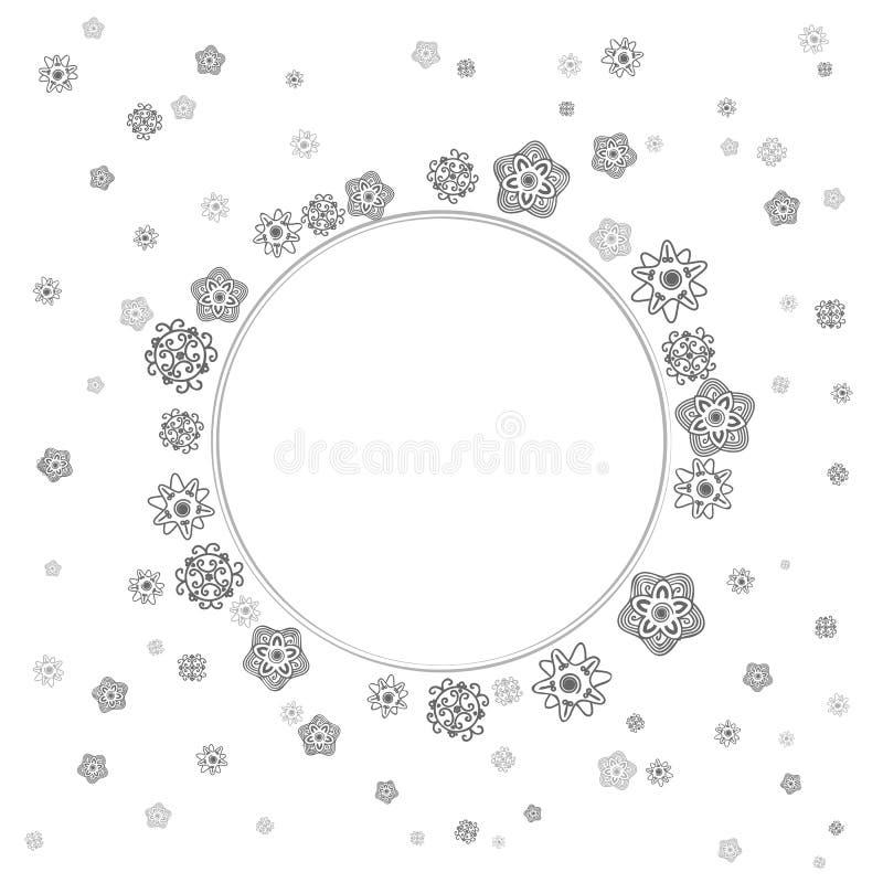 Μονοχρωματικά λεπτά γκρίζα λουλούδια δαντελλών διανυσματική απεικόνιση