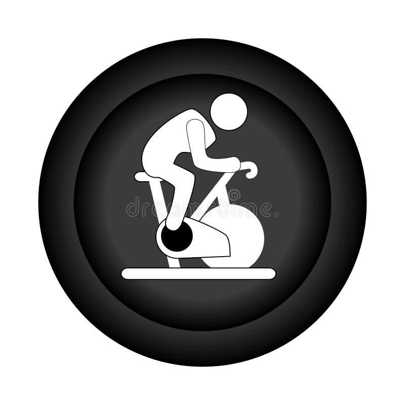 Μονοχρωματικά κυκλικά σύνορα με το άτομο σκιαγραφιών στην περιστροφή του ποδηλάτου απεικόνιση αποθεμάτων