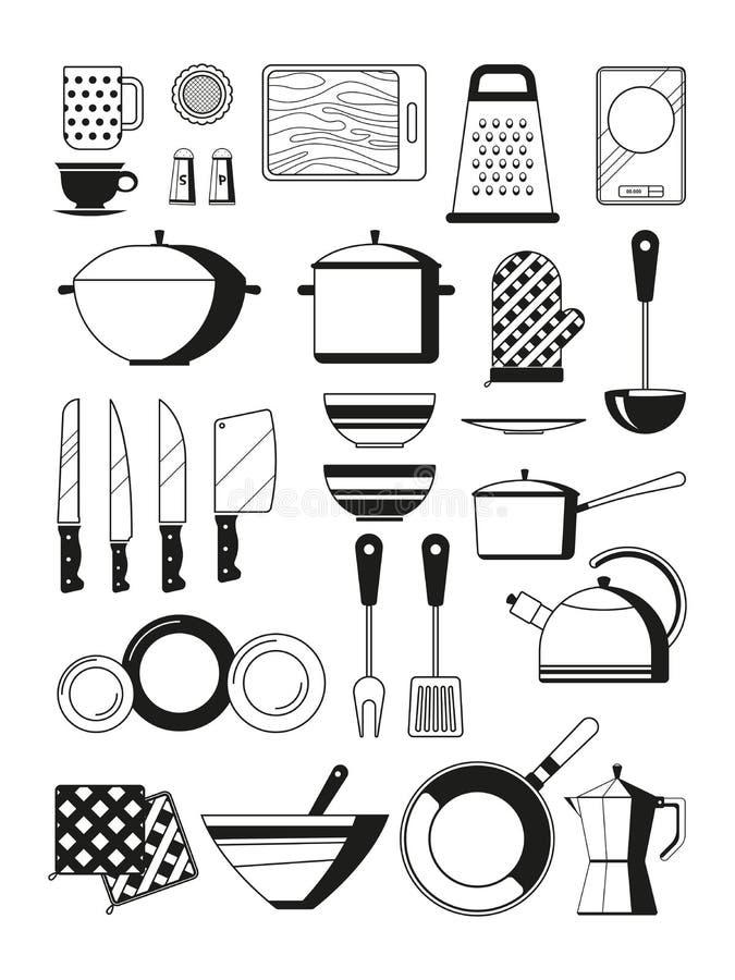 Μονοχρωματικές απεικονίσεις των εργαλείων κουζινών Διανυσματικό silhoette του εργαλείου εστιατορίων διανυσματική απεικόνιση
