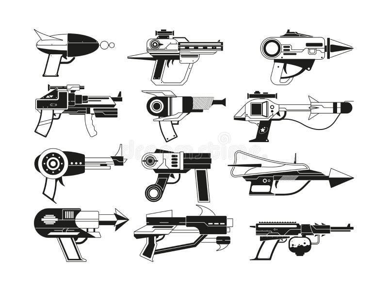 Μονοχρωματικές απεικονίσεις των φουτουριστικών όπλων για τους αστροναύτες απεικόνιση αποθεμάτων
