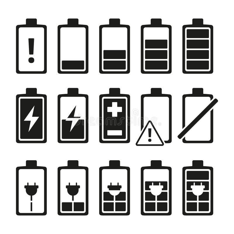 Μονοχρωματικές εικόνες της μπαταρίας smartphone στα διαφορετικά επίπεδα φόρτισης ελεύθερη απεικόνιση δικαιώματος
