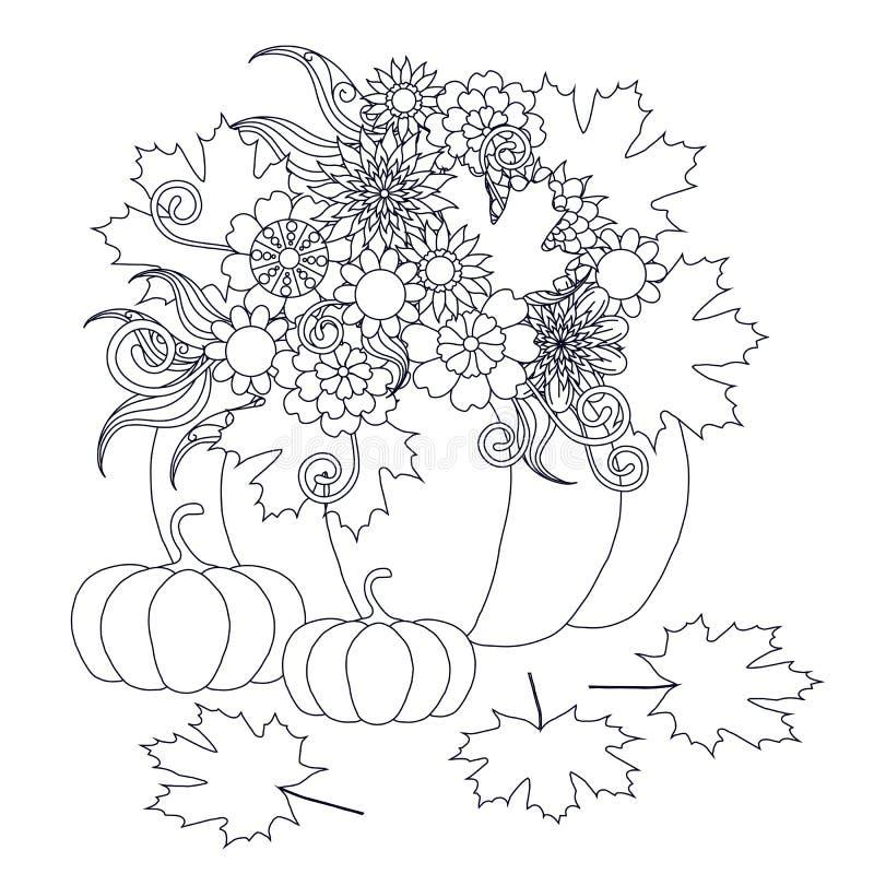Μονοχρωματικές συρμένες χέρι κολοκύθες doodle με τα λουλούδια απεικόνιση αποθεμάτων