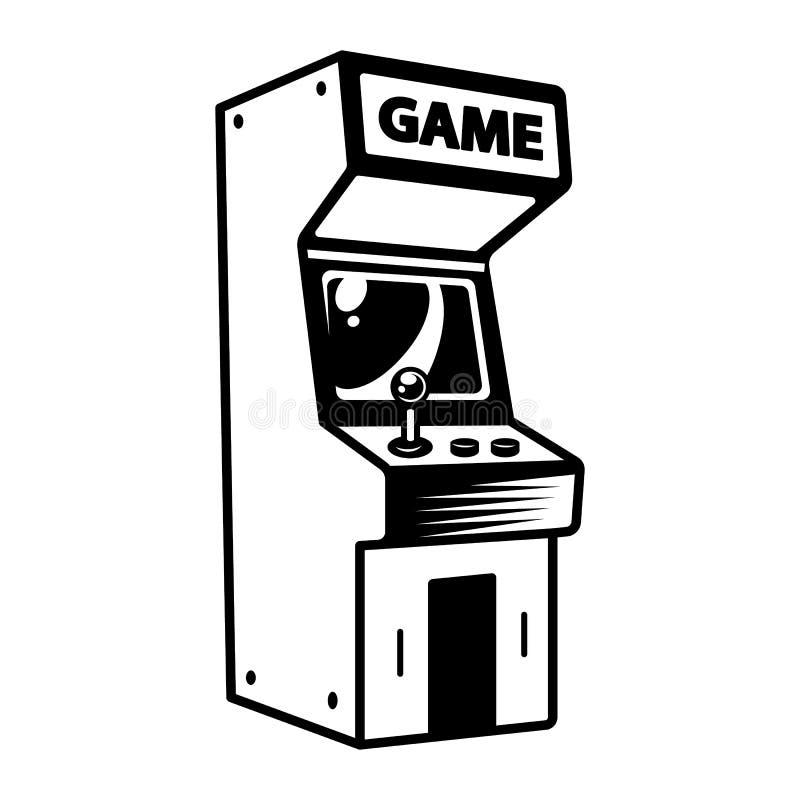Μονοχρωματική αναδρομική έννοια μηχανών παιχνιδιών arcade απεικόνιση αποθεμάτων