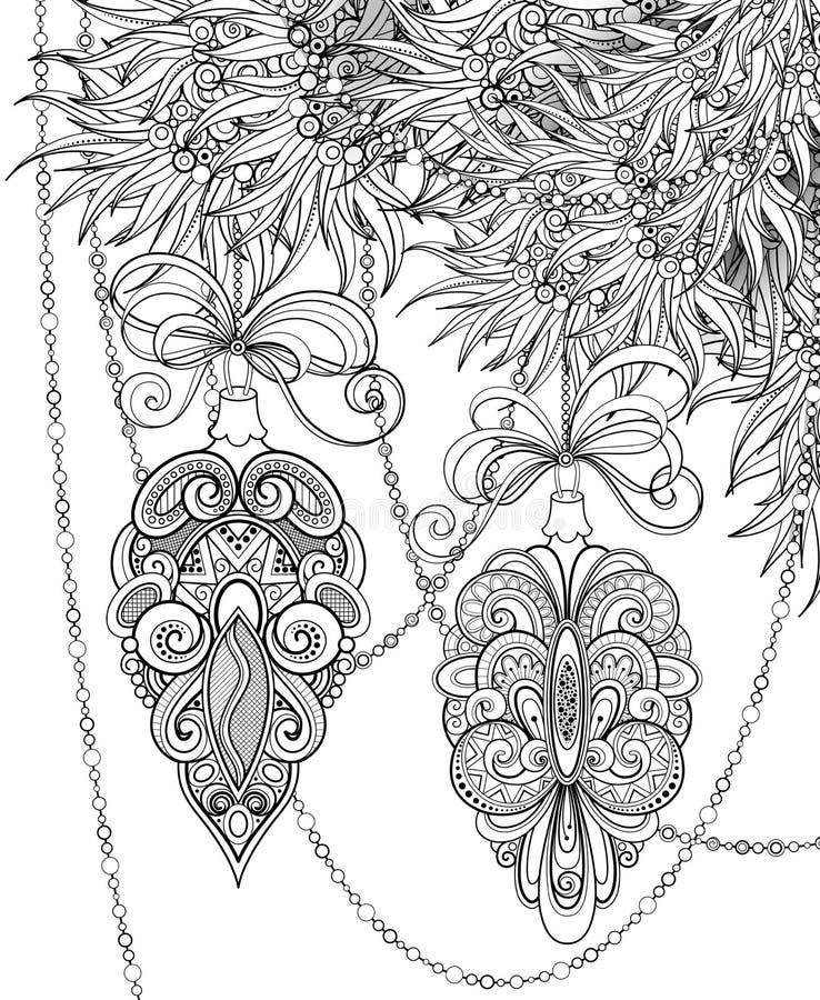 Μονοχρωματική απεικόνιση Χαρούμενα Χριστούγεννας, Floral μοτίβο απεικόνιση αποθεμάτων