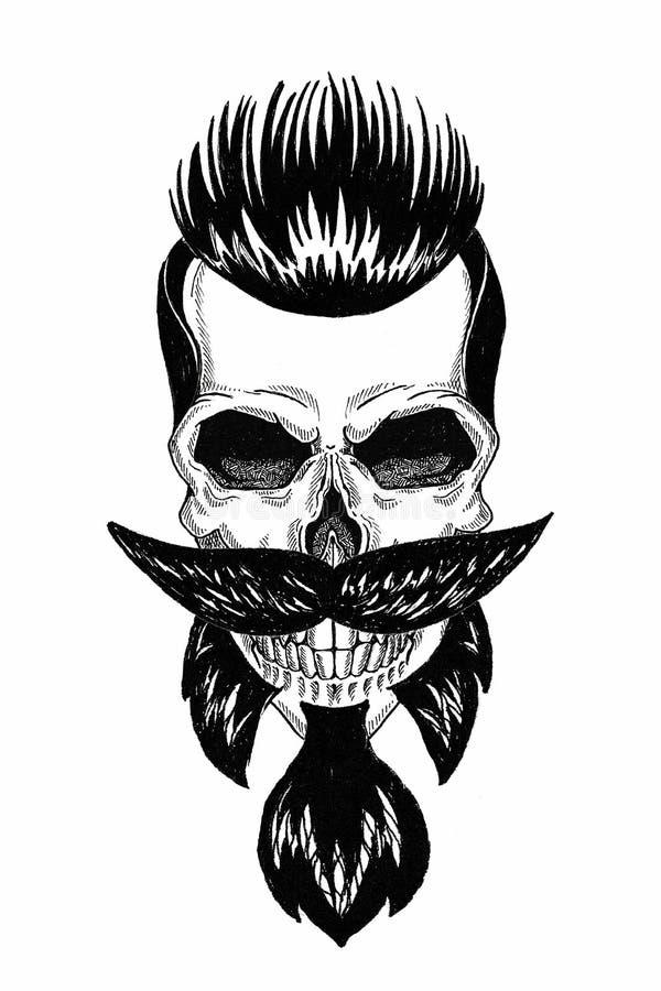 Μονοχρωματική απεικόνιση barbershop του κρανίου με τη γενειάδα, mustache, hipster το κούρεμα και στο άσπρο υπόβαθρο, κινούμενα σχ διανυσματική απεικόνιση