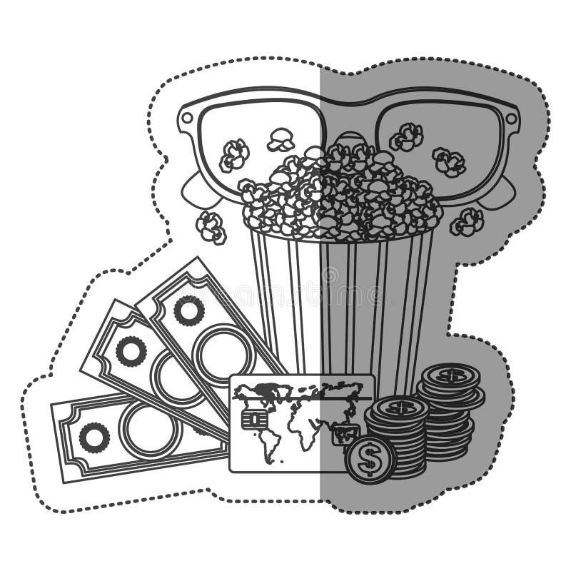 μονοχρωματική αυτοκόλλητη ετικέττα περιγράμματος με popcorn το φλυτζάνι και γυαλιά τρισδιάστατα και εισιτήρια χρημάτων και κινημα απεικόνιση αποθεμάτων
