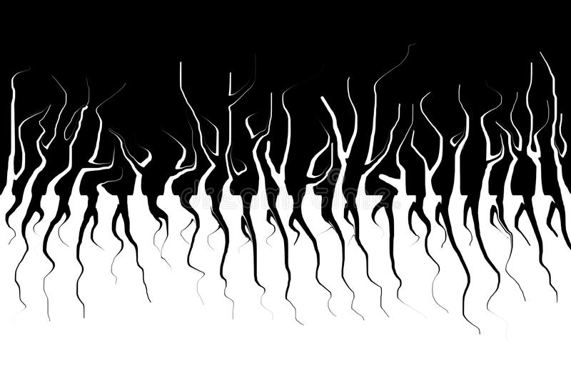 Μονοχρωματική περίληψη Σκοτεινά δέντρα και οι ρίζες τους Τρομακτικός υγροποιήστε την επίδραση ελεύθερη απεικόνιση δικαιώματος