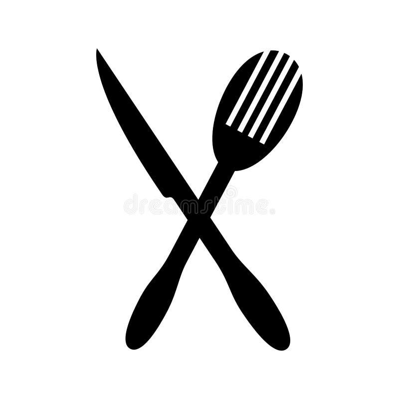 Μονοχρωματική σκιαγραφία με το δίκρανο μαχαιριών και τηγανητών απεικόνιση αποθεμάτων