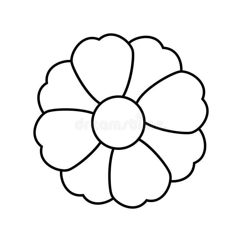 Μονοχρωματική σκιαγραφία με το εικονίδιο λουλουδιών floral ελεύθερη απεικόνιση δικαιώματος