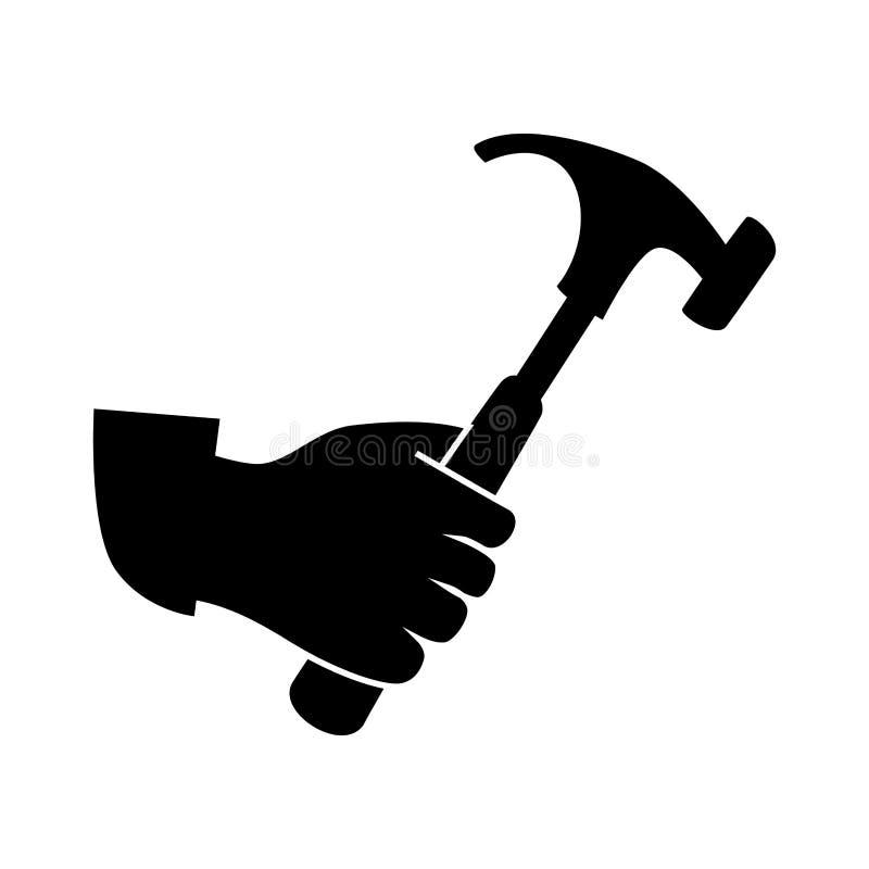 Μονοχρωματική σκιαγραφία με το εργαλείο χεριών και σφυριών διανυσματική απεικόνιση