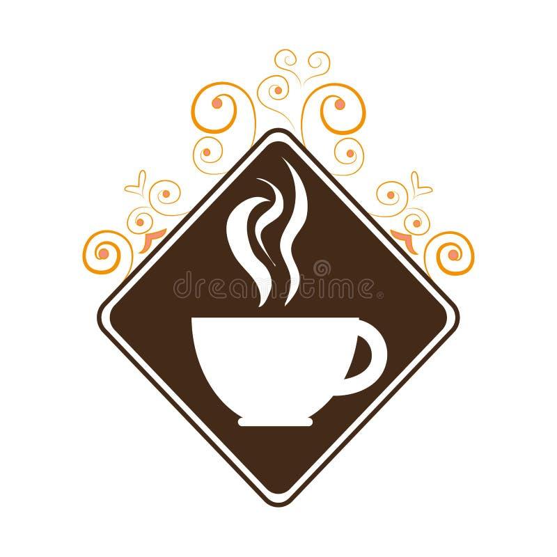 Μονοχρωματική σκιαγραφία με το λογότυπο καφέ διανυσματική απεικόνιση
