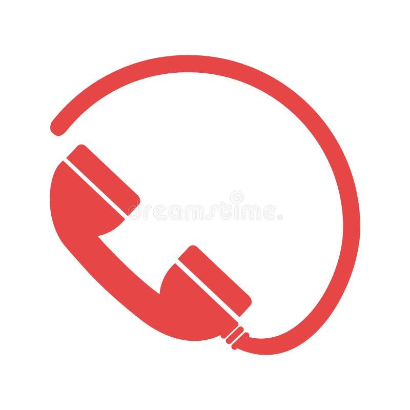Μονοχρωματική σκιαγραφία με το τηλέφωνο και το καλώδιο ελεύθερη απεικόνιση δικαιώματος