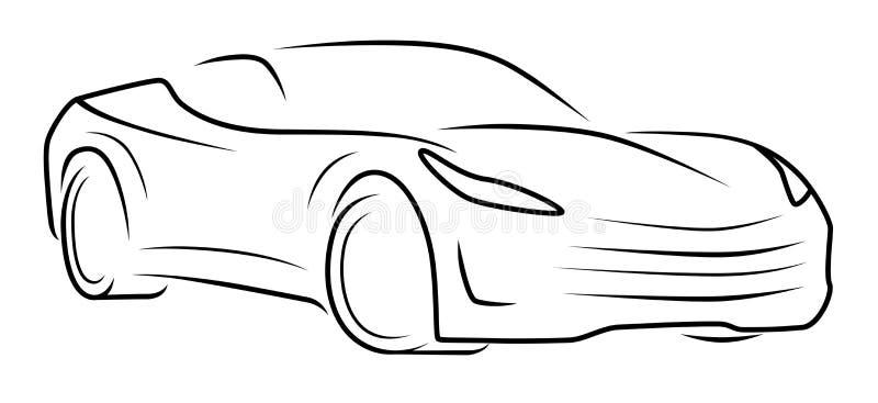 Μονοχρωματική σκιαγραφία σπορ αυτοκίνητο διανυσματική απεικόνιση