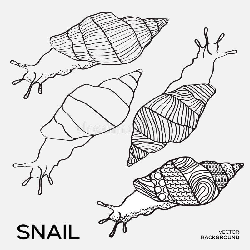 Μονοχρωματική σκιαγραφία της περίληψης σχεδίων σαλιγκαριών ελεύθερη απεικόνιση δικαιώματος