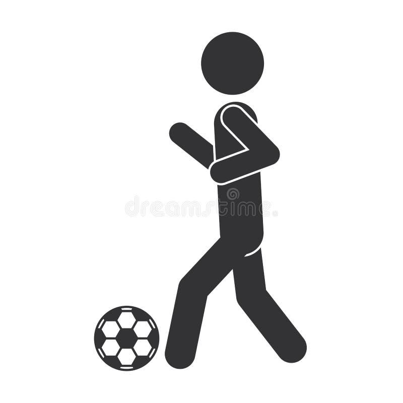 Μονοχρωματική σκιαγραφία του ατόμου με τη σφαίρα ποδοσφαίρου διανυσματική απεικόνιση