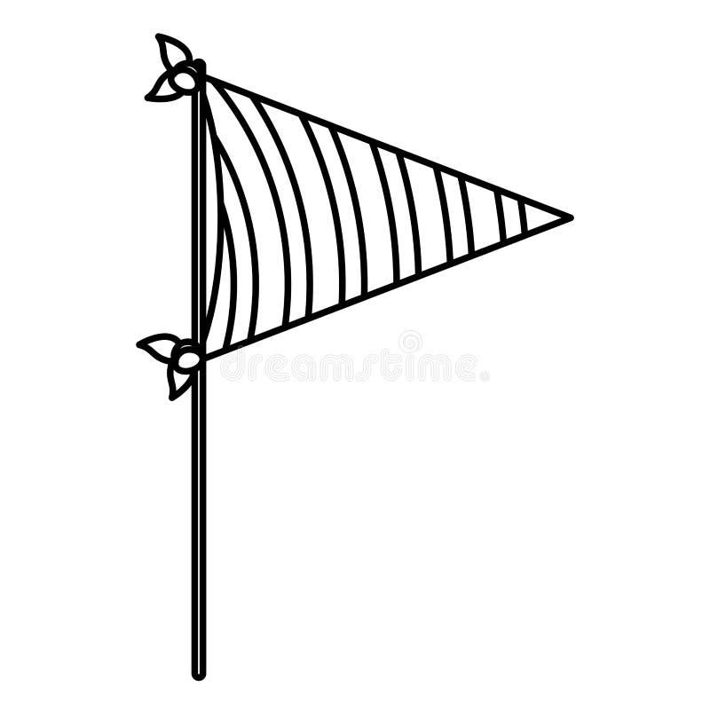 Μονοχρωματική σκιαγραφία του διακοσμητικού κόμματος σημαιών με τις ακτινωτές γραμμές μέσα για τον εορτασμό διανυσματική απεικόνιση
