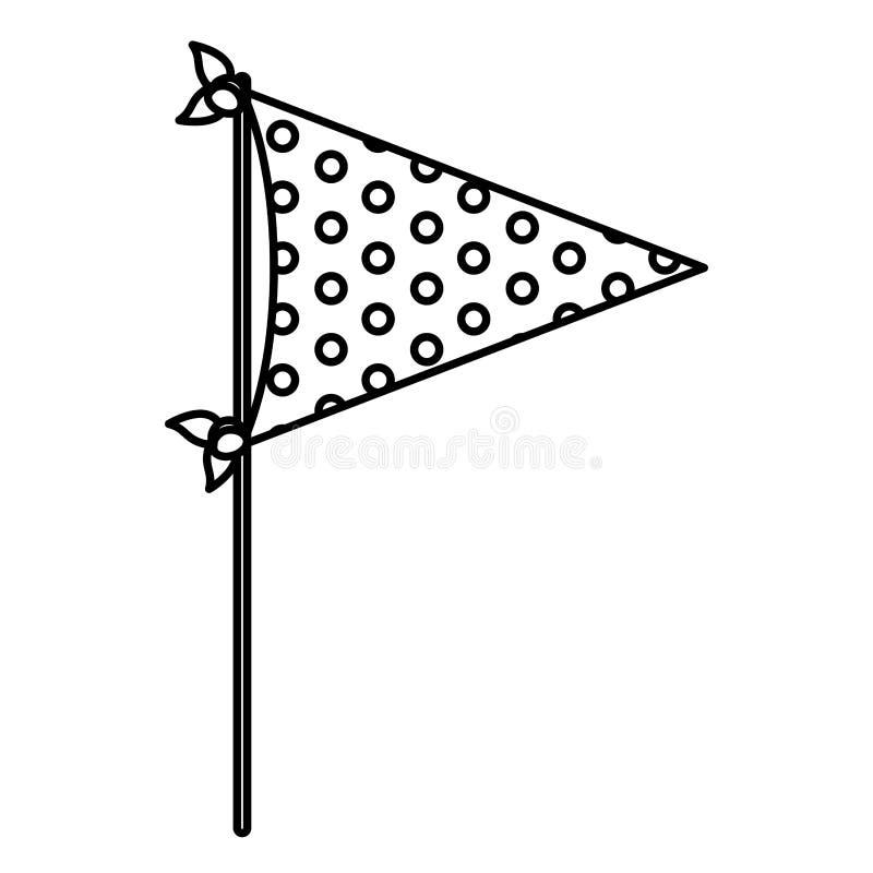 Μονοχρωματική σκιαγραφία του διακοσμητικού κόμματος σημαιών με διάφορα σημεία μέσα για τον εορτασμό απεικόνιση αποθεμάτων