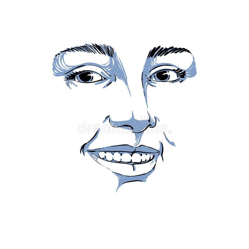 Μονοχρωματική hand-drawn μάσκα με τα χαρακτηριστικά γνωρίσματα προσώπου και το συναισθηματικό expr διανυσματική απεικόνιση