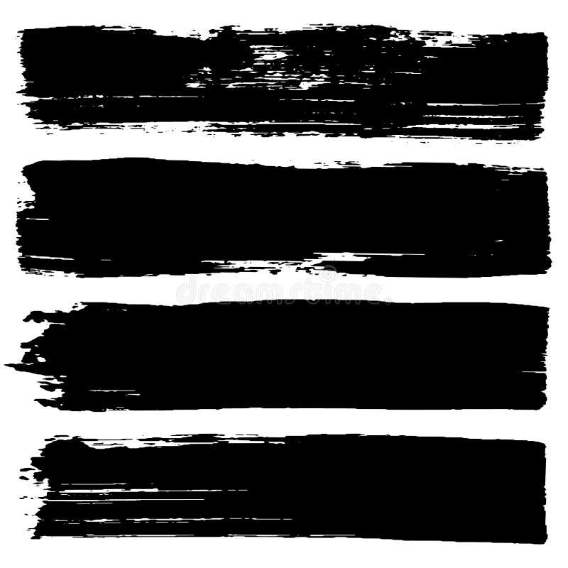 Διανυσματικό σύνολο συρμένων χέρι κτυπημάτων βουρτσών Μονοχρωματικοί γραφικοί πόροι ενός χρώματος Κύλινδρος Grunge, μαύρα λωρίδες ελεύθερη απεικόνιση δικαιώματος