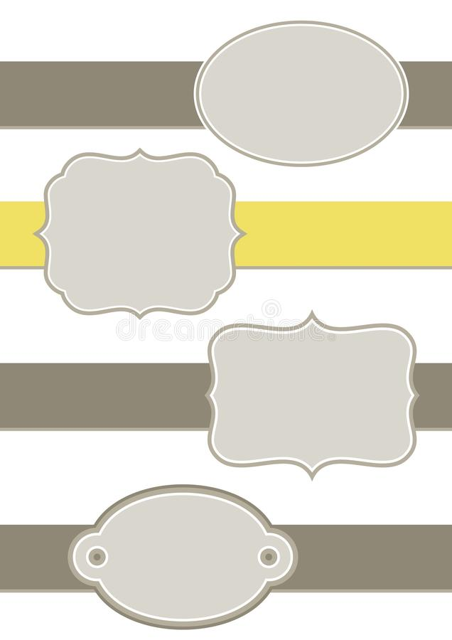 Μονοχρωματικός εκλεκτής ποιότητας καθορισμένος κίτρινος γκρίζος καφετής ετικετών διανυσματική απεικόνιση