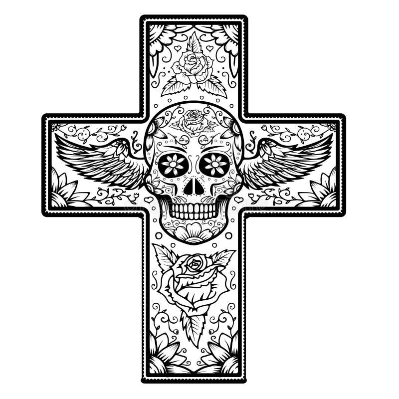 Μονοχρωματικός σταυρός με το φτερωτό κρανίο ζάχαρης που απομονώνεται στο άσπρο backg διανυσματική απεικόνιση