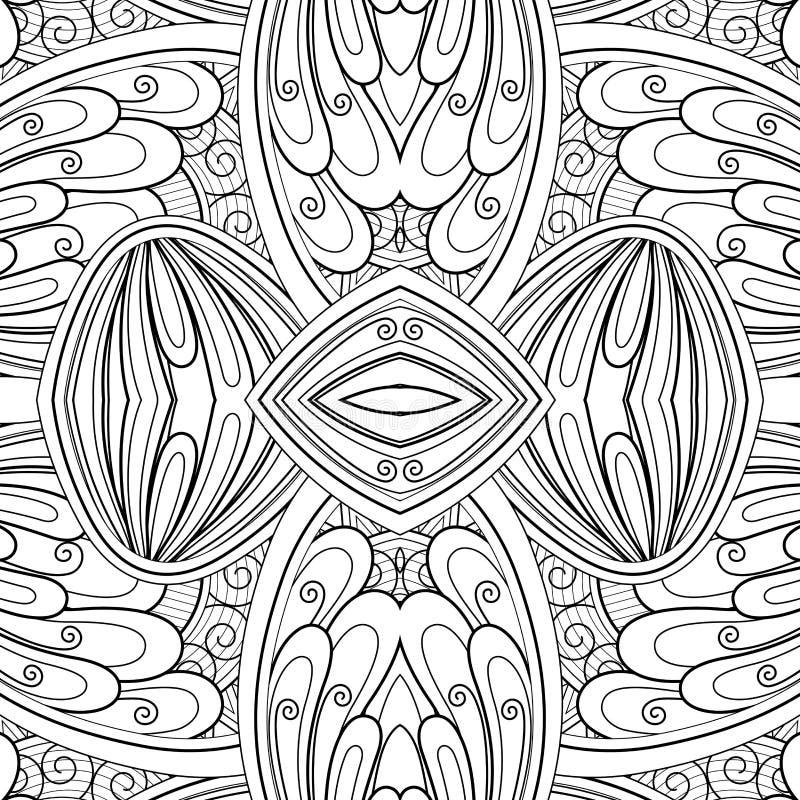 Μονοχρωματικό άνευ ραφής σχέδιο κεραμιδιών, φανταχτερό καλειδοσκόπιο απεικόνιση αποθεμάτων