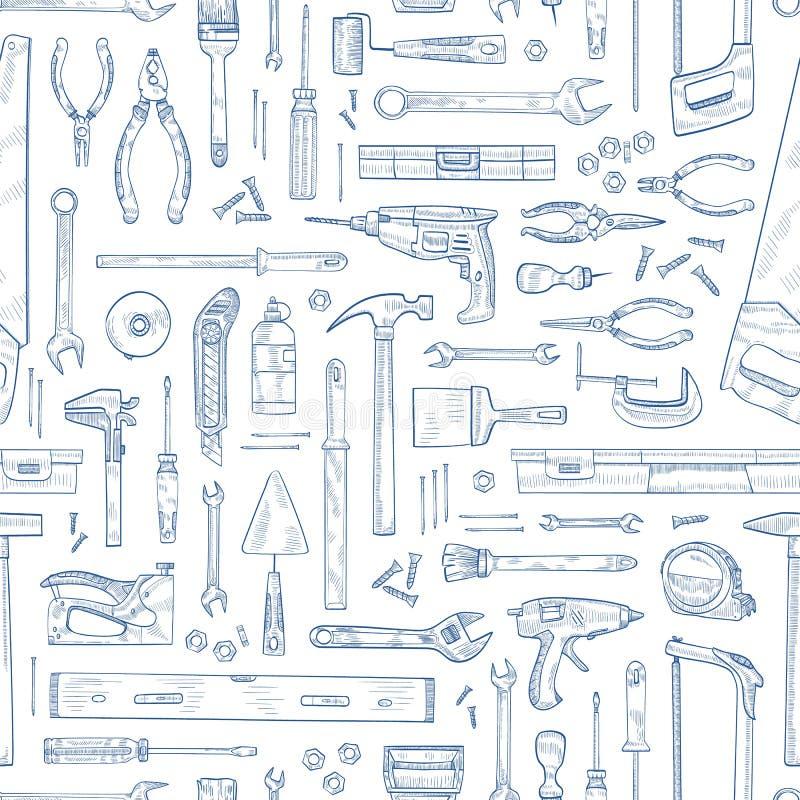 Μονοχρωματικό άνευ ραφής σχέδιο με τα χειρωνακτικά και τροφοδοτημένα οικιακά εργαλεία για την ξυλουργική Σκηνικό με τον εξοπλισμό απεικόνιση αποθεμάτων