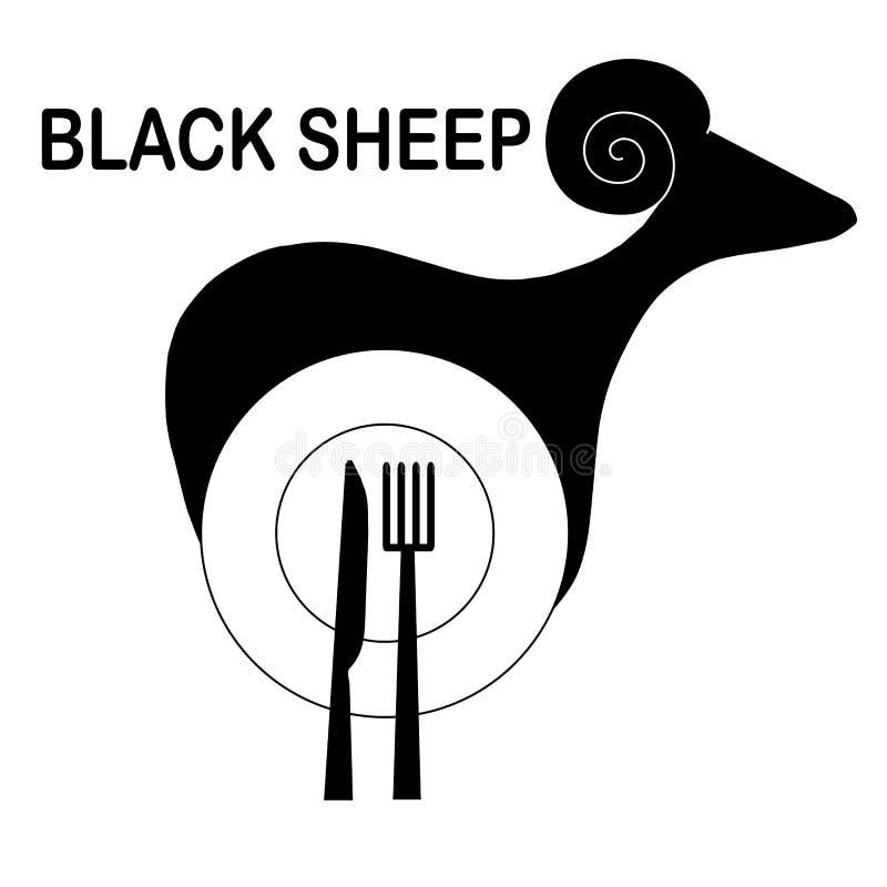 Μονοχρωματικό αρχικό λογότυπο για τον καφέ και το εστιατόριο Τυποποιημένα μαύρα πρόβατα, πιάτο, κουτάλι, δίκρανο στο λευκό διανυσματική απεικόνιση