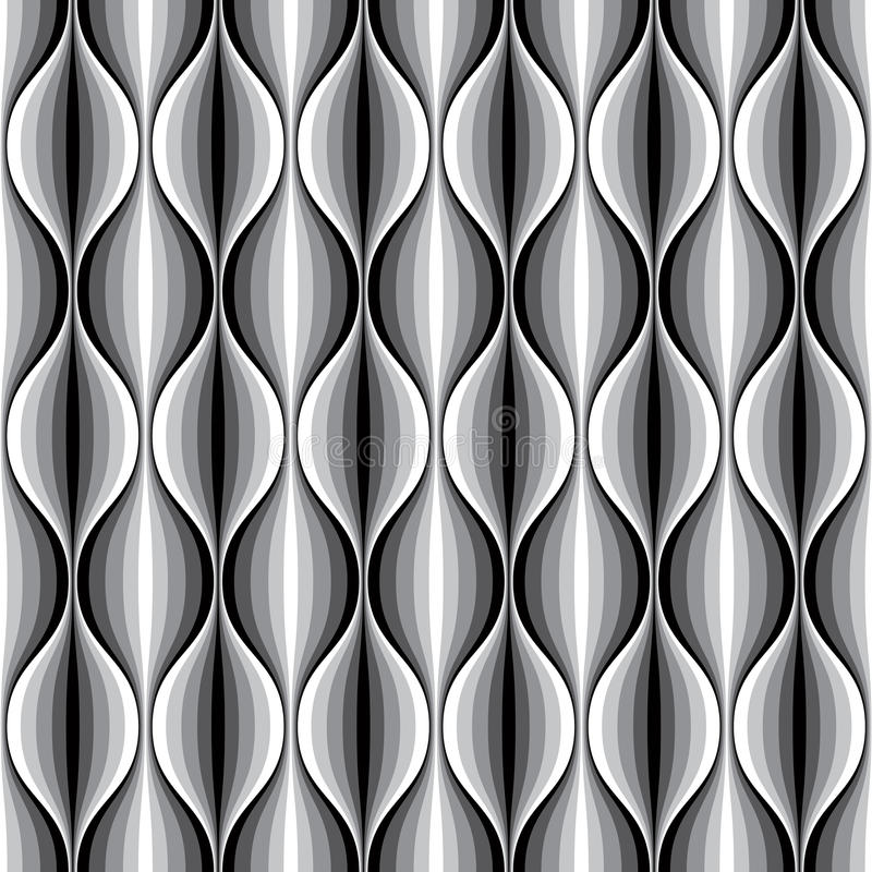 Μονοχρωματικό γεωμετρικό κυματιστό ευθυγραμμισμένο άνευ ραφής σχέδιο απεικόνιση αποθεμάτων