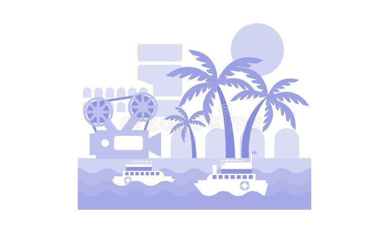 Μονοχρωματικό διανυσματικό τοπίο με τα σκάφη στη θάλασσα, τους φοίνικες, τη λουρίδα ταινιών και τη κάμερα Φεστιβάλ κινηματογράφων ελεύθερη απεικόνιση δικαιώματος