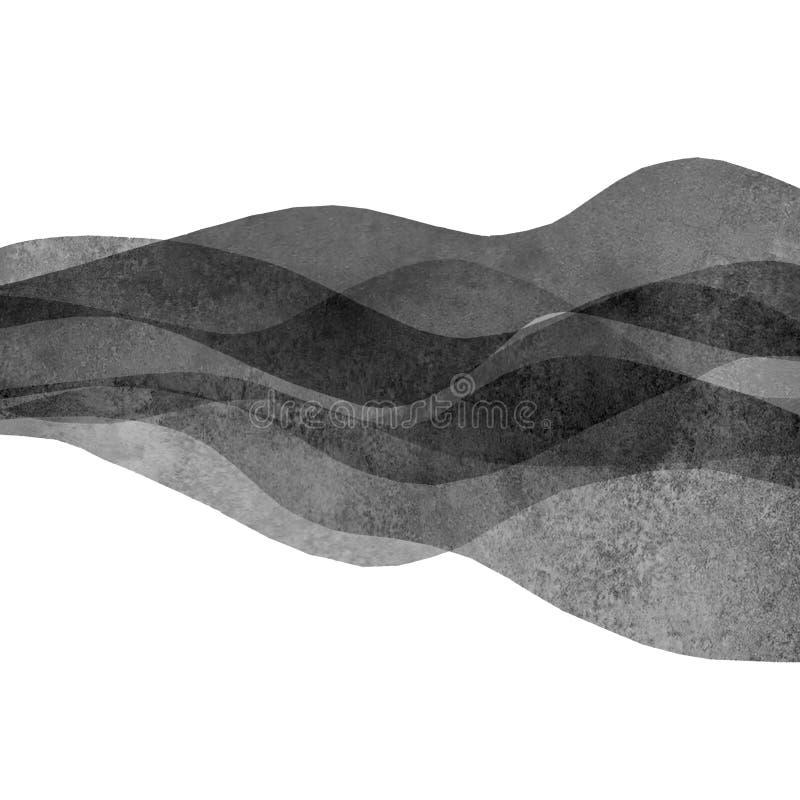 Μονοχρωματικό μαύρο χρωματισμένο υπόβαθρο κυμάτων Watercolor διαφανές Χρωματισμένη απεικόνιση κυμάτων Watercolour χέρι διανυσματική απεικόνιση