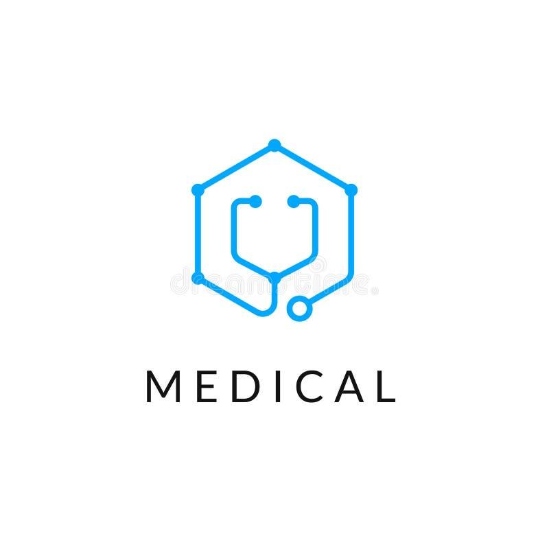 Μονοχρωματικό μπλε λογότυπο εμβλημάτων εικονιδίων ιατρικής γραμμών απεικόνιση αποθεμάτων