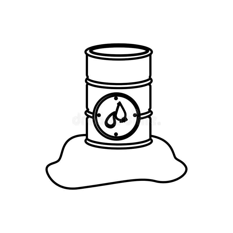 μονοχρωματικό περίγραμμα με το μεταλλικό βαρέλι με το πετρέλαιο απεικόνιση αποθεμάτων