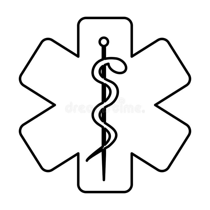Μονοχρωματικό περίγραμμα με το σύμβολο υγείας με το αστέρι της ζωής διανυσματική απεικόνιση