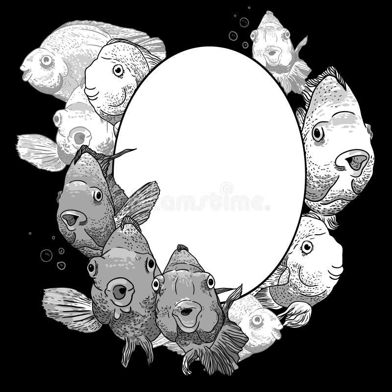 Μονοχρωματικό πλαίσιο με τα ψάρια διανυσματική απεικόνιση